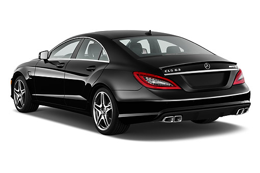 AUT 50 IZ0870 01 © Kimball Stock 2014 Mercedes Benz CLS Class 63 AMG 2-Door Coupe 3/4 Rear View In Studio
