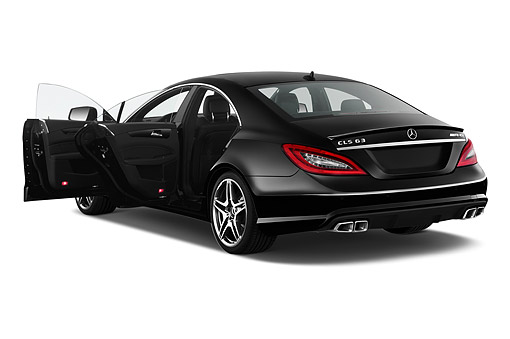 AUT 50 IZ0871 01 © Kimball Stock 2014 Mercedes Benz CLS Class 63 AMG 2-Door Coupe 3/4 Rear View In Studio