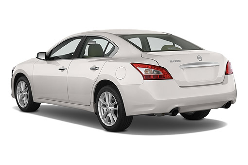 AUT 50 IZ0940 01 © Kimball Stock 2014 Nissan Maxima 3.5s 4-Door Sedan 3/4 Rear View In Studio