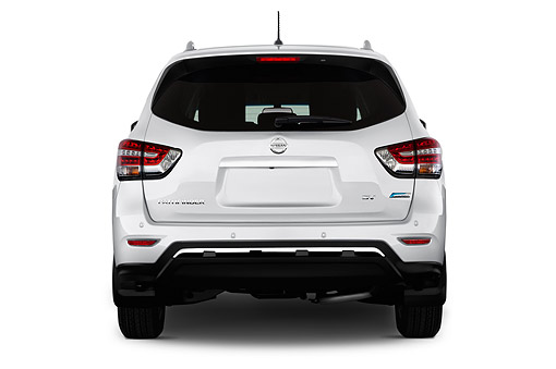 AUT 50 IZ0971 01 © Kimball Stock 2014 Nissan Pathfinder SL 4WD Hybrid 5-Door SUV Rear View In Studio