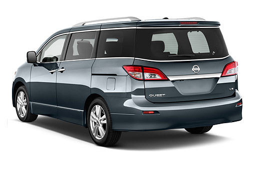 AUT 50 IZ0975 01 © Kimball Stock 2014 Nissan Quest 3.5 LE 4-Door Van 3/4 Rear View In Studio