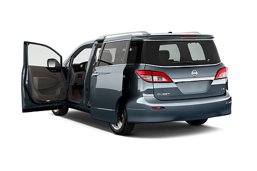 AUT 50 IZ0976 01 © Kimball Stock 2014 Nissan Quest 3.5 LE 4-Door Van 3/4 Rear View In Studio
