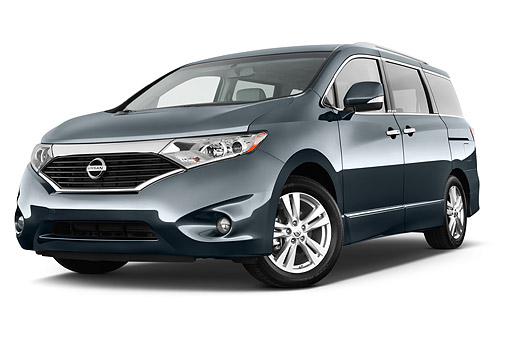AUT 50 IZ0980 01 © Kimball Stock 2014 Nissan Quest 3.5 LE 4-Door Van 3/4 Front View In Studio