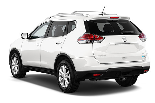 AUT 50 IZ0989 01 © Kimball Stock 2014 Nissan Rogue SV FWD 5-Door SUV 3/4 Rear View In Studio