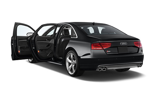 AUT 50 IZ1055 01 © Kimball Stock 2014 Audi S8 Sedan 4-Door 3/4 Rear View In Studio