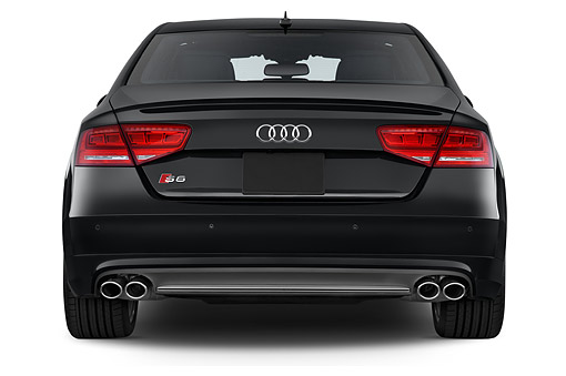 AUT 50 IZ1057 01 © Kimball Stock 2014 Audi S8 Sedan 4-Door Rear View In Studio
