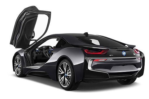 AUT 50 IZ1069 01 © Kimball Stock 2014 BMW i8 Hybrid 2-Door Coupe 3/4 Rear View In Studio