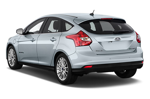 AUT 50 IZ1081 01 © Kimball Stock 2014 Ford Focus BEV Electric 5-Door Hatchback 3/4 Rear View In Studio