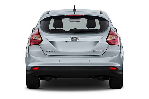 AUT 50 IZ1084 01 © Kimball Stock 2014 Ford Focus BEV Electric 5-Door Hatchback Rear View In Studio