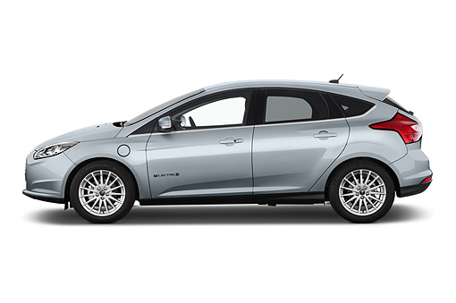 AUT 50 IZ1085 01 © Kimball Stock 2014 Ford Focus BEV Electric 5-Door Hatchback Profile View In Studio