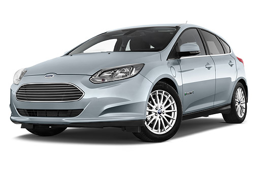 AUT 50 IZ1086 01 © Kimball Stock 2014 Ford Focus BEV Electric 5-Door Hatchback Low 3/4 Front View In Studio