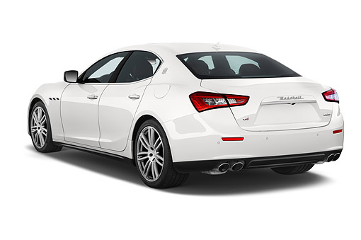 AUT 50 IZ1095 01 © Kimball Stock 2014 Maserati Ghibli Base 4-Door Sedan 3/4 Rear View In Studio