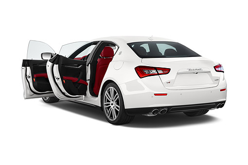 AUT 50 IZ1096 01 © Kimball Stock 2014 Maserati Ghibli Base 4-Door Sedan 3/4 Rear View In Studio