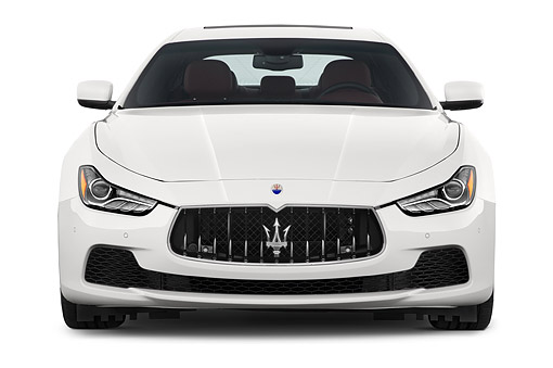 AUT 50 IZ1097 01 © Kimball Stock 2014 Maserati Ghibli Base 4-Door Sedan Front View In Studio