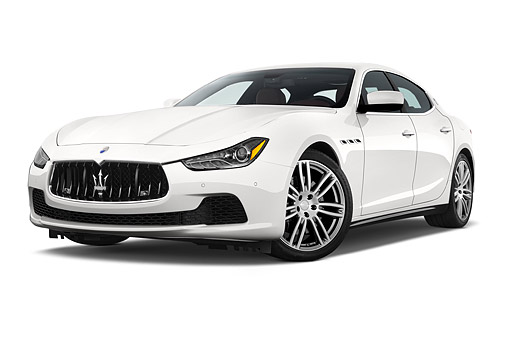 AUT 50 IZ1100 01 © Kimball Stock 2014 Maserati Ghibli Base 4-Door Sedan Low 3/4 Front View In Studio