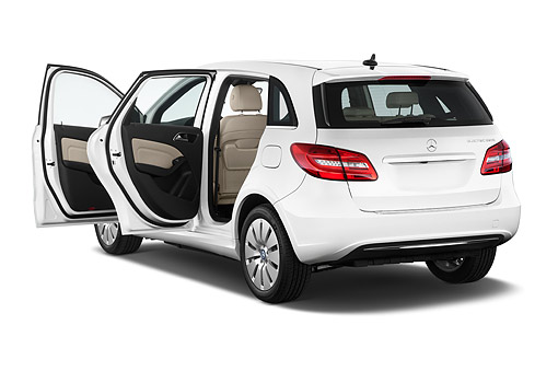 AUT 50 IZ1103 01 © Kimball Stock 2014 Mercedes Benz B Class Electric Drive 5-Door MPV 3/4 Rear View In Studio