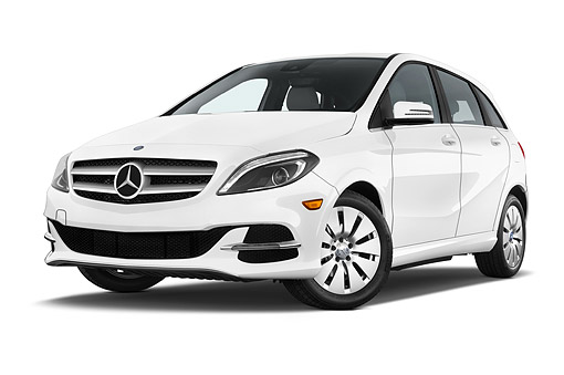 AUT 50 IZ1107 01 © Kimball Stock 2014 Mercedes Benz B Class Electric Drive 5-Door MPV Low 3/4 Front View In Studio