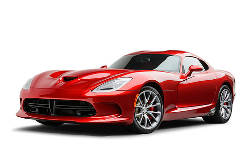 AUT 50 RK0007 01 © Kimball Stock 2014 SRT Viper GTS Red 3/4 Front View On White Seamless