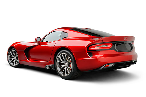 AUT 50 RK0012 01 © Kimball Stock 2014 SRT Viper GTS Red 3/4 Rear View On White Seamless