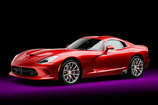 AUT 50 RK0017 01 © Kimball Stock 2014 SRT Viper GTS Red 3/4 Front View In Studio