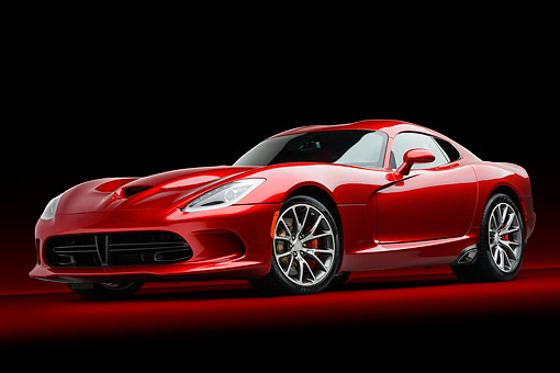 AUT 50 RK0018 01 © Kimball Stock 2014 SRT Viper GTS Red 3/4 Front View In Studio