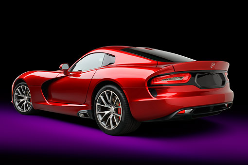 AUT 50 RK0019 01 © Kimball Stock 2014 SRT Viper GTS Red 3/4 Rear View In Studio