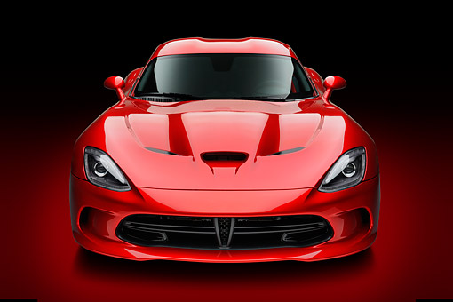 AUT 50 RK0020 01 © Kimball Stock 2014 SRT Viper GTS Red Front View In Studio