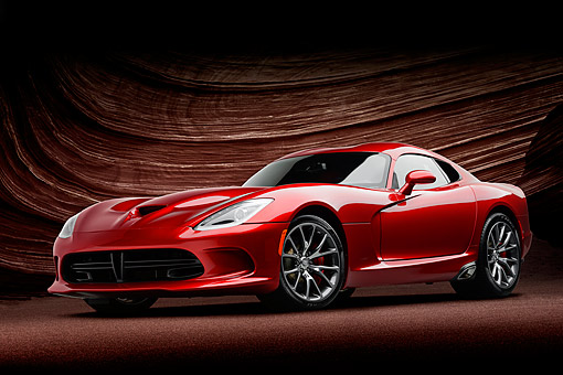 AUT 50 RK0021 01 © Kimball Stock 2014 SRT Viper GTS Red 3/4 Front View In Studio