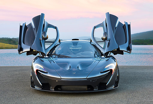 AUT 50 RK0050 01 © Kimball Stock 2014 McLaren P1 Front View On Pavement By Lake