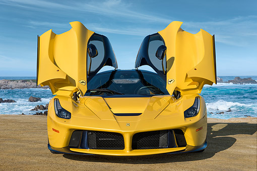 AUT 50 RK0867 01 © Kimball Stock 2014 Ferrari LaFerrari Hybrid Yellow Front View By Ocean