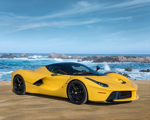 AUT 50 RK0868 01 © Kimball Stock 2014 Ferrari LaFerrari Hybrid Yellow 3/4 Front View By Ocean