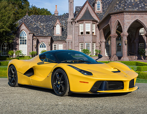 AUT 50 RK0869 01 © Kimball Stock 2014 Ferrari LaFerrari Hybrid Yellow 3/4 Front View In Studio