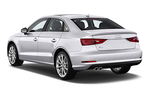 AUT 51 IZ0084 01 © Kimball Stock 2015 Audi A3 2.0 T DSG 4-Door Sedan 3/4 Rear View In Studio