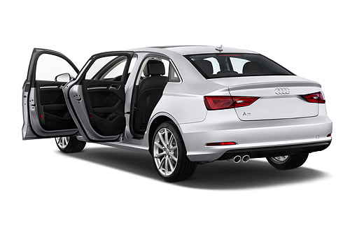 AUT 51 IZ0085 01 © Kimball Stock 2015 Audi A3 2.0 T DSG 4-Door Sedan 3/4 Rear View In Studio