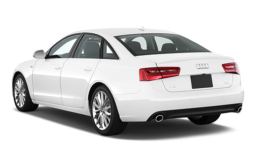 AUT 51 IZ0091 01 © Kimball Stock 2015 Audi A6 Quattro Tiptronic Premium 4-Door Sedan 3/4 Rear View In Studio