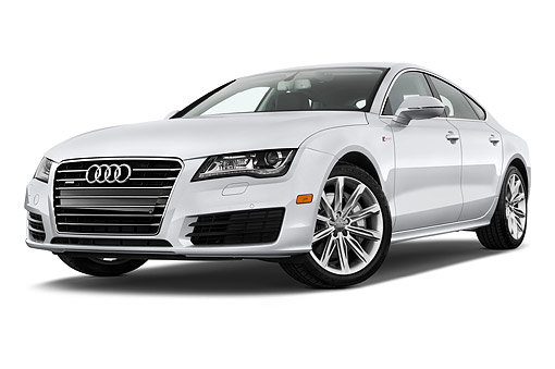AUT 51 IZ0103 01 © Kimball Stock 2015 Audi A7 3.0t Quattro 4-Door Sedan 3/4 Front View In Studio