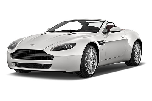 AUT 51 IZ0146 01 © Kimball Stock 2015 Aston Marton V8 Vantage Roadster 2-Door Convertible 3/4 Front View In Studio