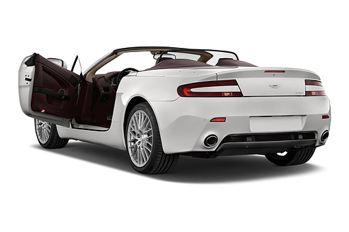 AUT 51 IZ0148 01 © Kimball Stock 2015 Aston Marton V8 Vantage Roadster 2-Door Convertible 3/4 Rear View In Studio