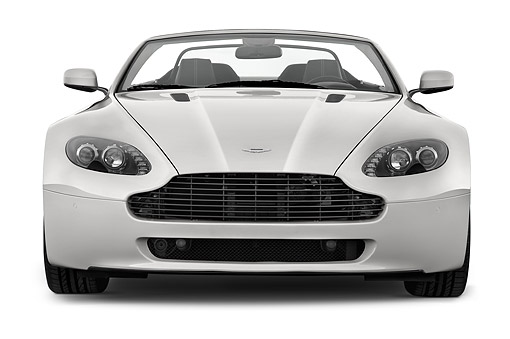 AUT 51 IZ0149 01 © Kimball Stock 2015 Aston Marton V8 Vantage Roadster 2-Door Convertible Front View In Studio