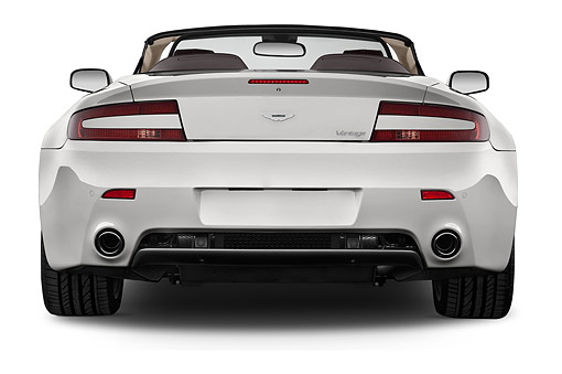 AUT 51 IZ0150 01 © Kimball Stock 2015 Aston Marton V8 Vantage Roadster 2-Door Convertible Rear View In Studio