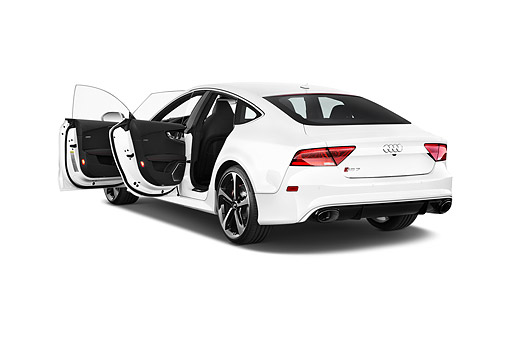 AUT 51 IZ0169 01 © Kimball Stock 2015 Audi RS7 Quattro Tiptronic Prestige 4-Door Hatchback 3/4 Rear View In Studio
