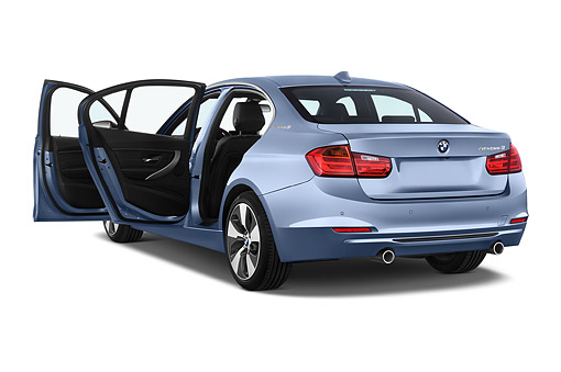 AUT 51 IZ0190 01 © Kimball Stock 2015 BMW 3 Series ActiveHybrid 3 4-Door Sedan 3/4 Rear View In Studio