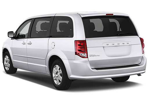 AUT 51 IZ0238 01 © Kimball Stock 2015 Dodge Grand Caravan SE 4-Door Mini Van 3/4 Rear View In Studio