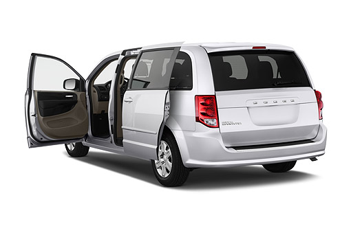 AUT 51 IZ0239 01 © Kimball Stock 2015 Dodge Grand Caravan SE 4-Door Mini Van 3/4 Rear View In Studio