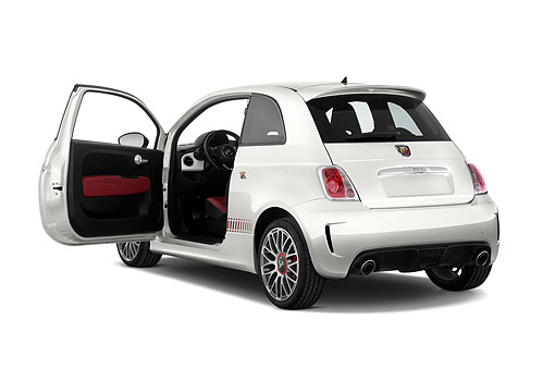 AUT 51 IZ0253 01 © Kimball Stock 2015 Fiat 500 Abarth 3-Door 3/4 Rear View In Studio