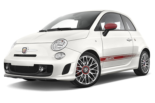 AUT 51 IZ0257 01 © Kimball Stock 2015 Fiat 500 Abarth 3-Door Low 3/4 Front View In Studio
