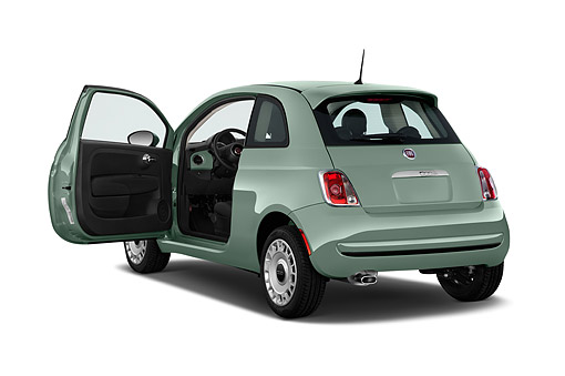 AUT 51 IZ0260 01 © Kimball Stock 2015 Fiat 500 Pop 3-Door Hatchback 3/4 Rear View In Studio
