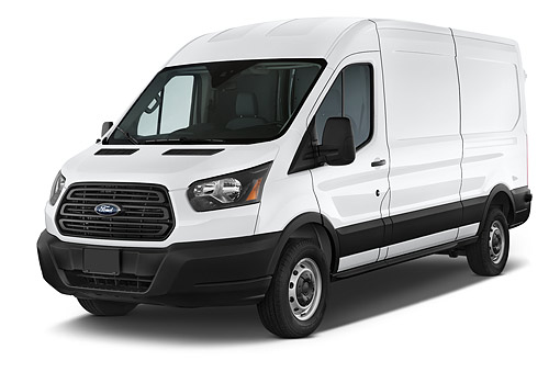 AUT 51 IZ0286 01 © Kimball Stock 2015 Ford Transit 250 Van Medium Roof Sliding Pass 130 WB 4-Door Van 3/4 Front View In Studio