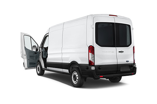 AUT 51 IZ0288 01 © Kimball Stock 2015 Ford Transit 250 Van Medium Roof Sliding Pass 130 WB 4-Door Van 3/4 Rear View In Studio