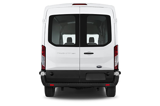 AUT 51 IZ0290 01 © Kimball Stock 2015 Ford Transit 250 Van Medium Roof Sliding Pass 130 WB 4-Door Van Rear View In Studio
